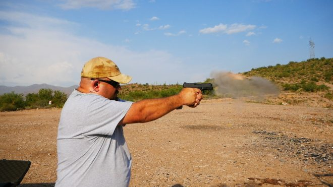 Glock 20SF muzzle blast while firing Underwood 220 gr coated hard cast.