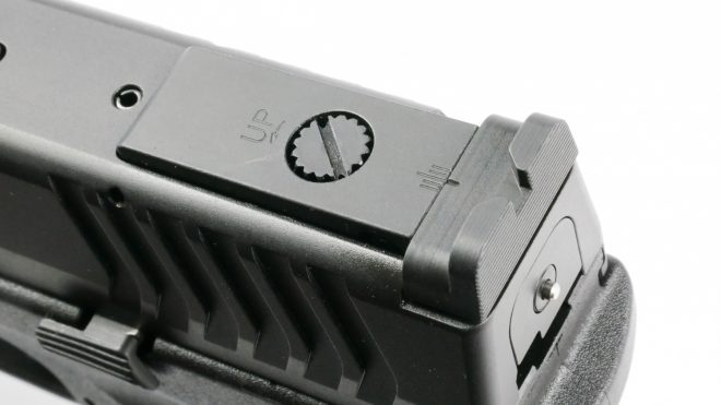 The adjustable sight on the XDm-10 is a nice touch that makes the pistol more shootable with a wide variety of loads.