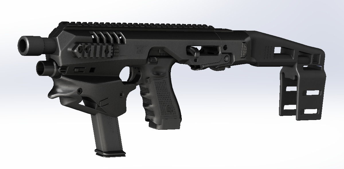 CAD Rendering. The forward ledge on the front grip allows for a pinch between the index and middle finger. I'm interested to see how this works and feels.