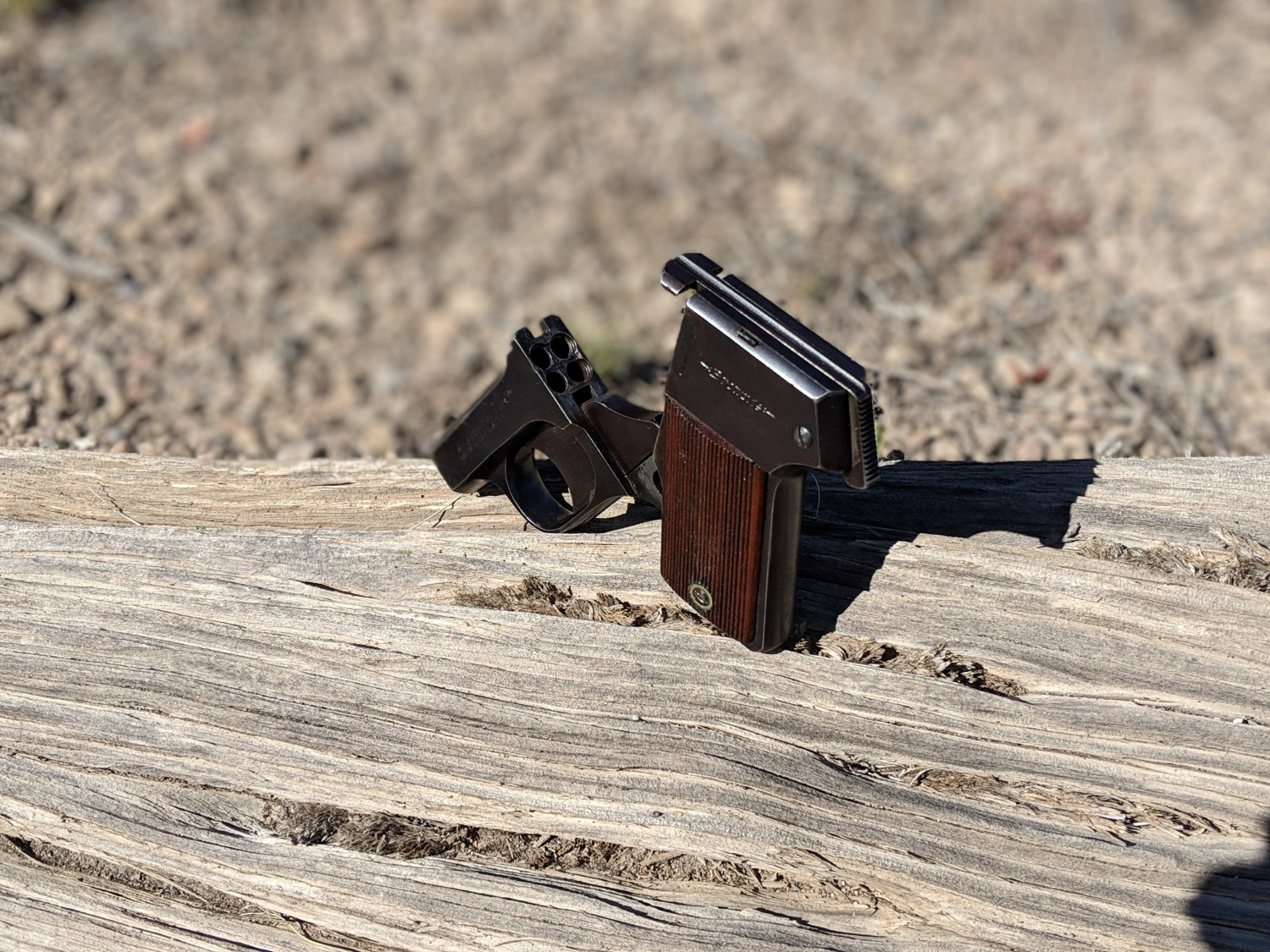 The Brownie was a pepperbox .22LR pistol for dispatching varmints.