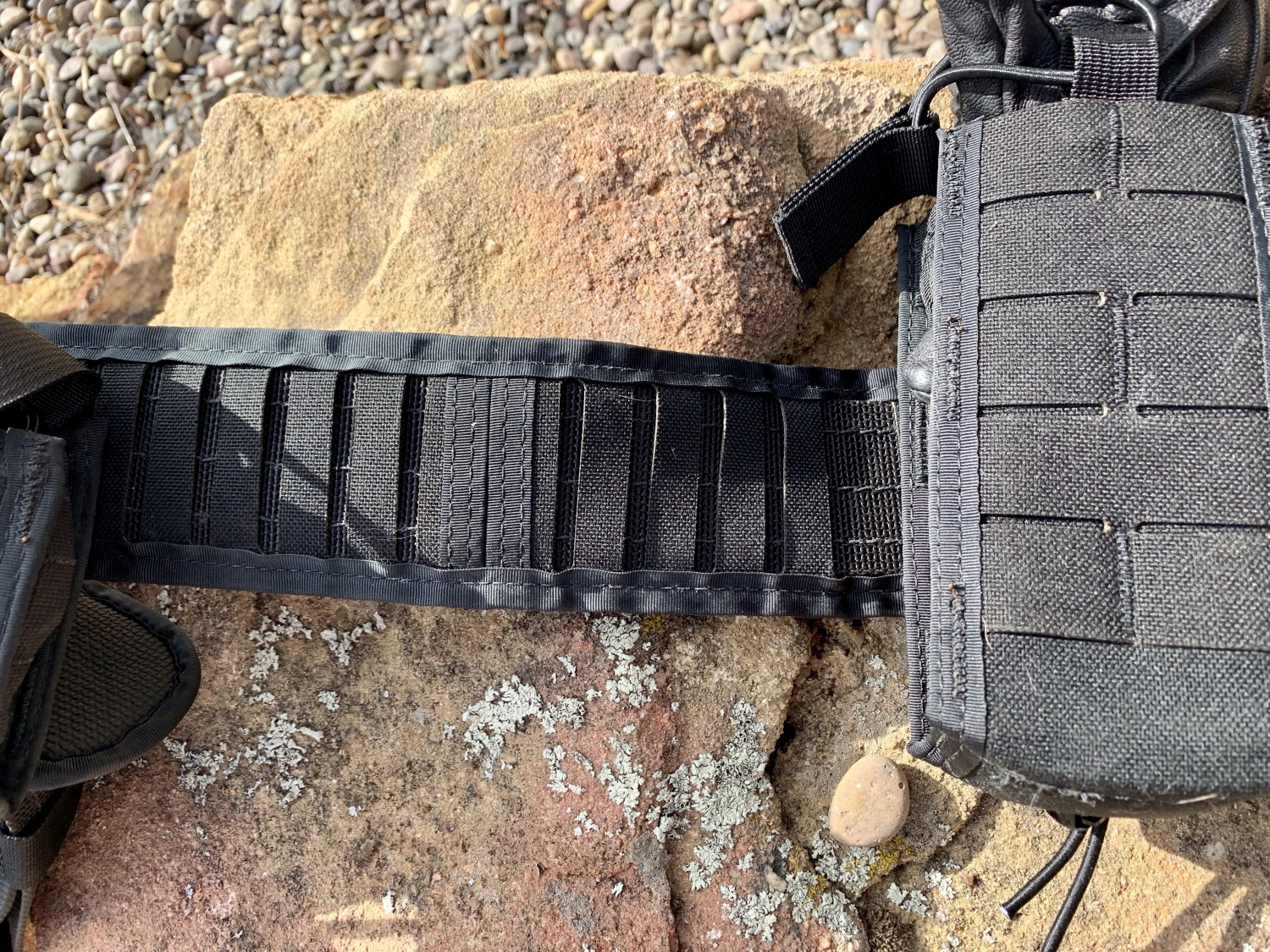 The strips on the Padded Duty Belt allow you to precisely place your gear and keep it in place. Warning: setup takes some time.