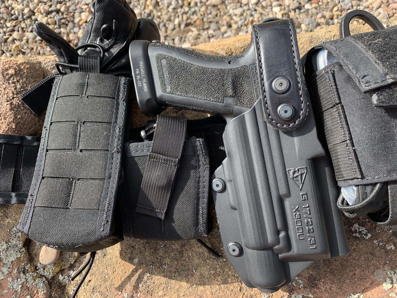 The configuration of the holster is clearly imprinted on the side so there is no question. This fits my G17 with X300u. Also note the retention strap—it is well made and very solid.