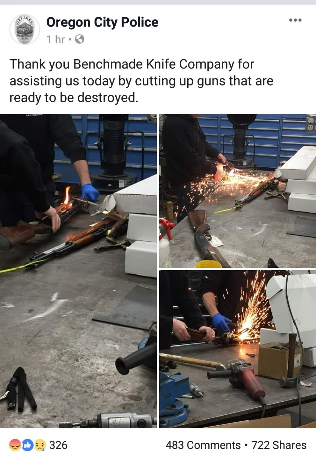 Benchmade Helps PD Destroy Guns: Official Statement