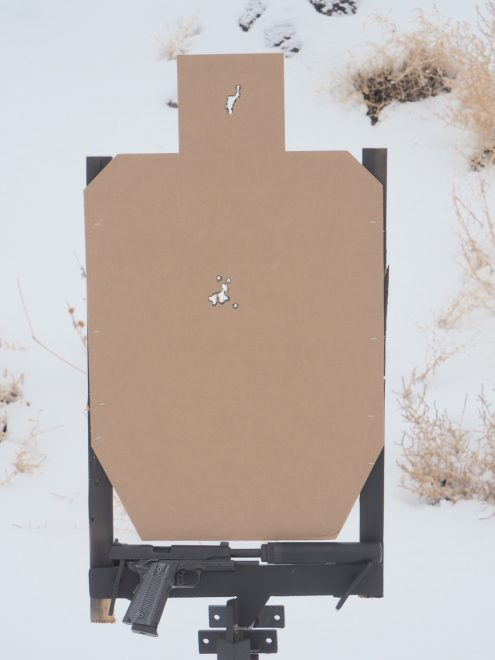 16 Rounds rapid fire into the head box and torso of an IPSC target at 10y.