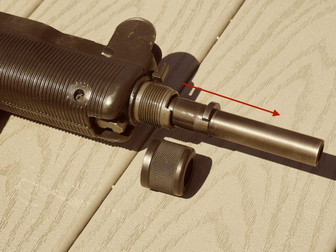 Barrel nut removed, barrel pulls out forward from the firearm