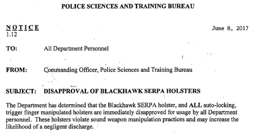 LAPD assesment of SERPA holster performance