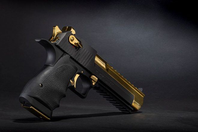 Desert Eagle Black and Gold, back view.