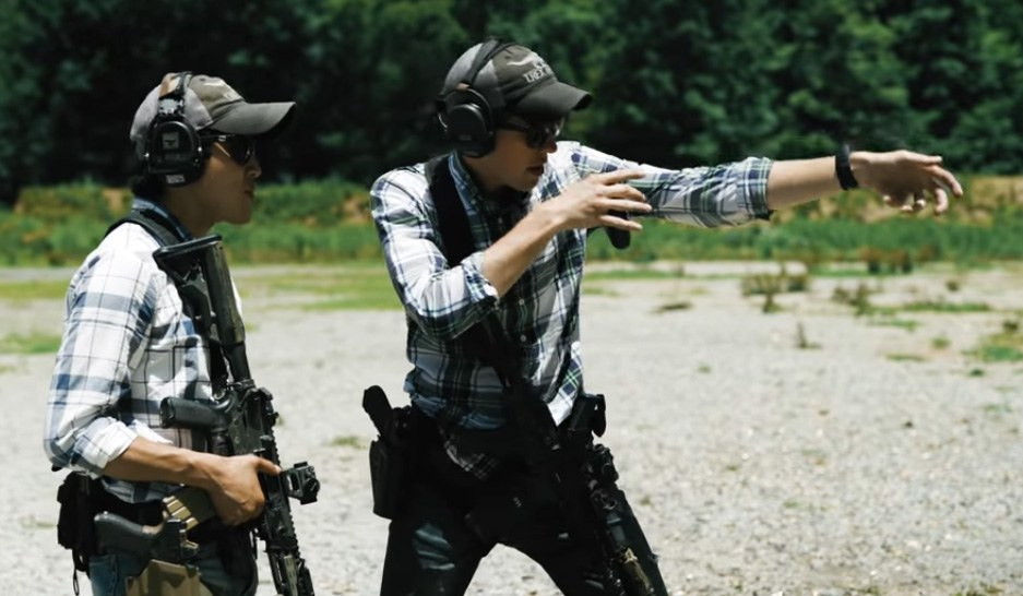 Lucas helping Liku's update his airsoft skills for use with real firearms