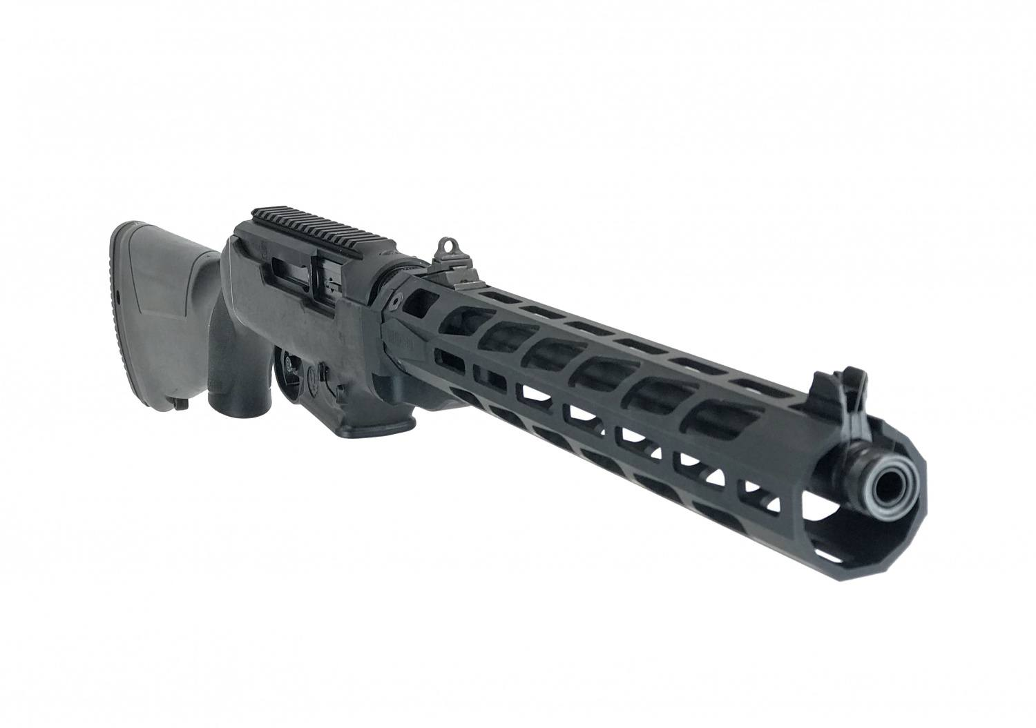 3/4 view of the free floant handguard PC Carbine