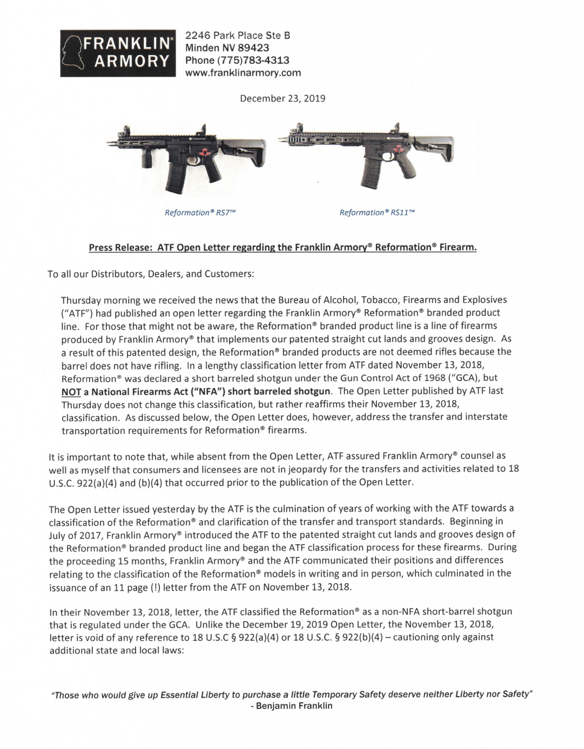 Franklin Armory Responds To ATF Open Letter On The Reformation
