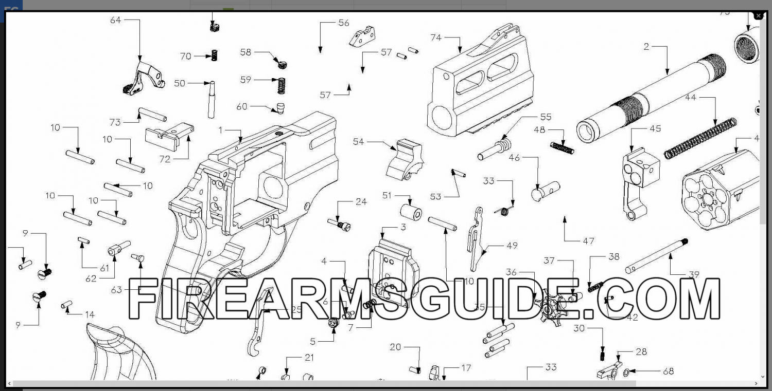 Firearms Guide Rhino exploded view.