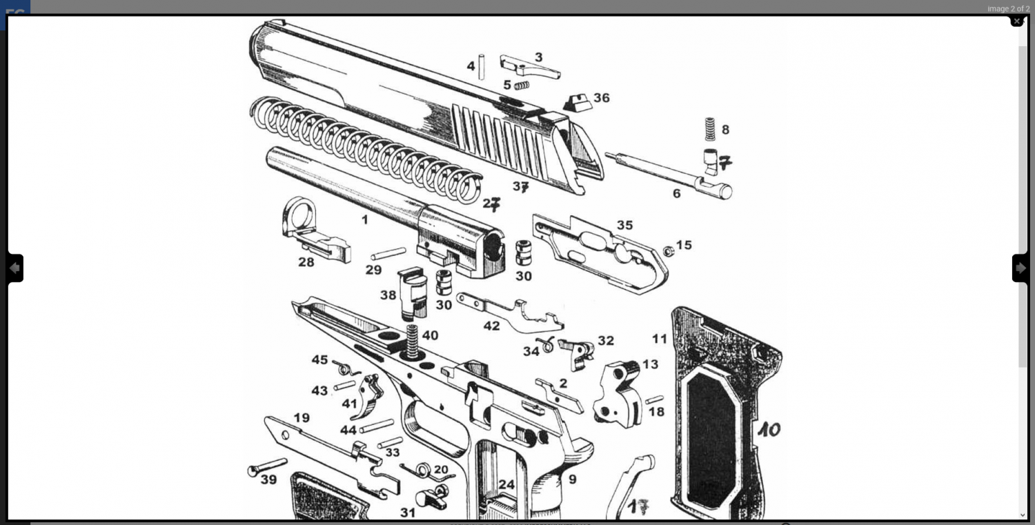 Firearms Guide CZ 52 exploded view.