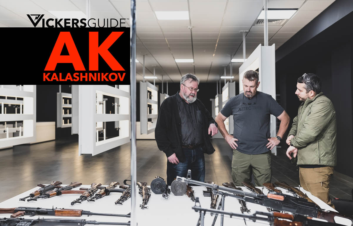 Larry Vickers, Sergei Gorbunov, weapon design engineer and author in Izhevsk, browsing through Kalashnikov factory weapon collection. Photo by Valery Moroz.