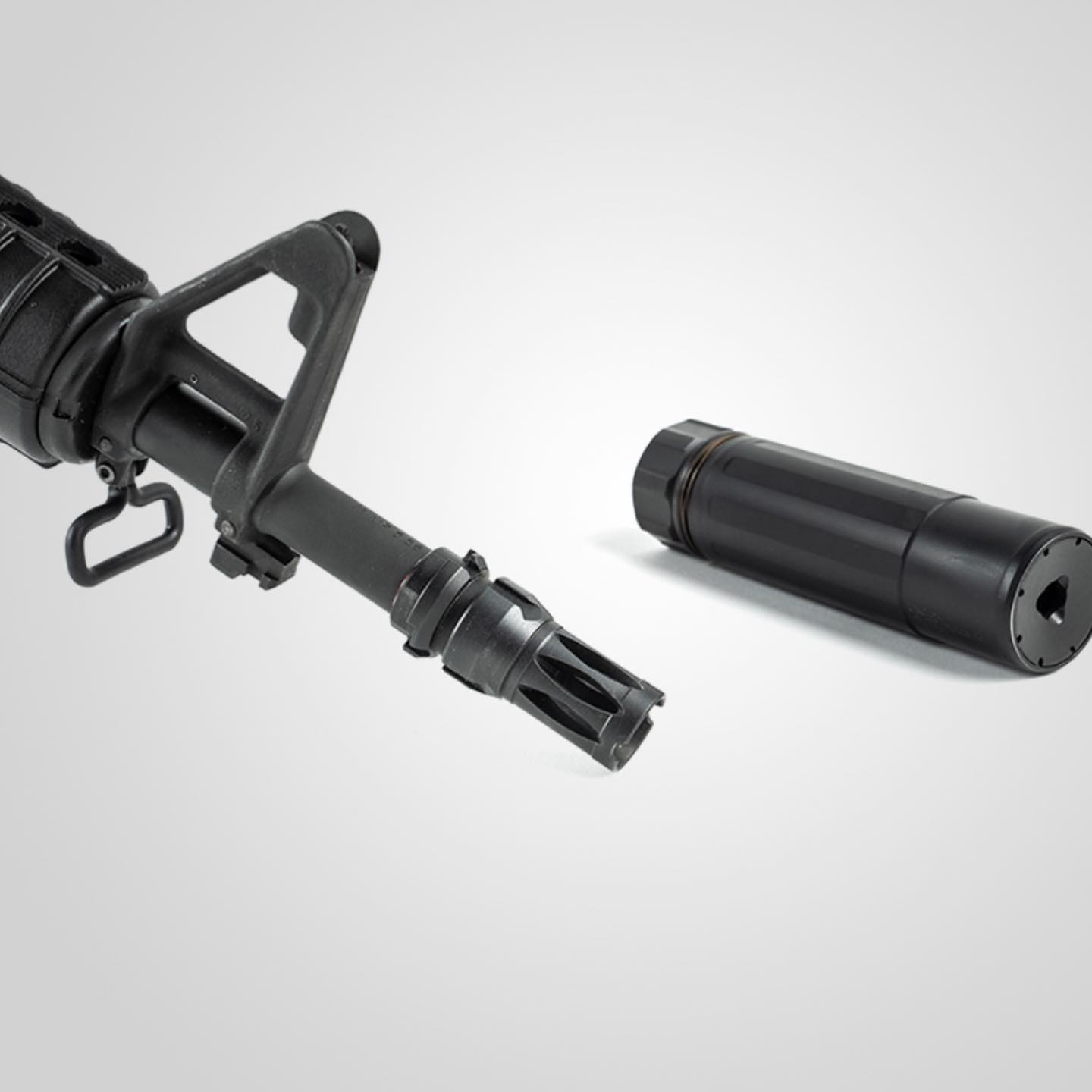 The main departure from the original 733 design is this Forward Control Design flash hider, which serves as the mount for your numbers-matching can.
