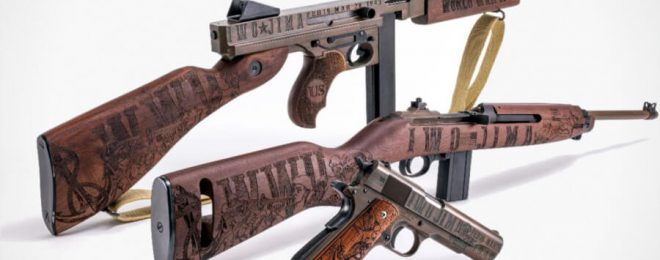 Thompson Auto-Ordnance released a commemorative Iwo Jima set of three signature firearms.