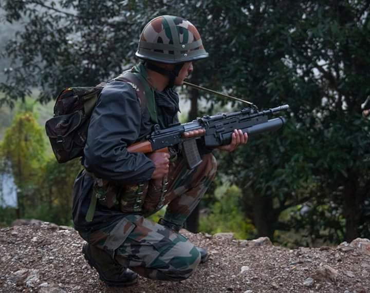 Indian soldier on patrol with UBGL-equipped INSAS