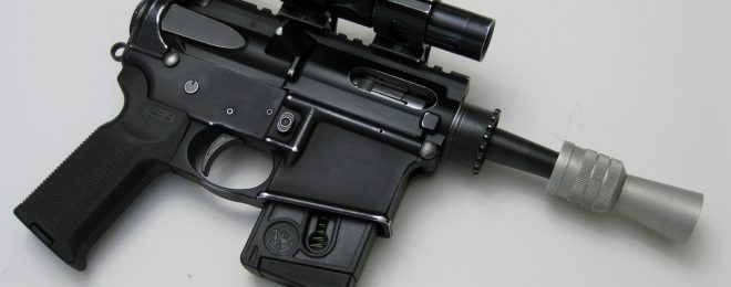 A working, .22 caliber AR-based replica of Han Solo's blaster from Star Wars.