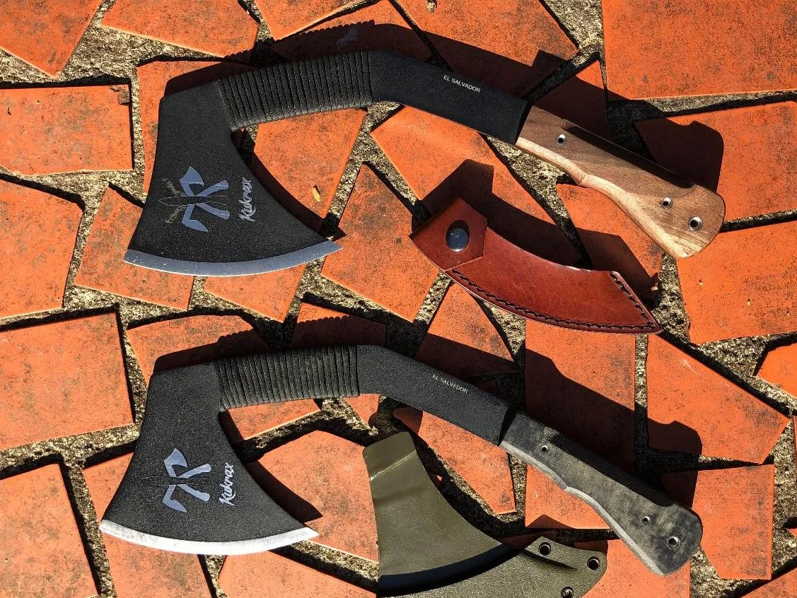 Kukrax Pak and Tak with blade covers.