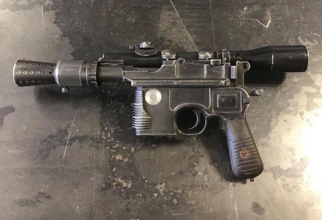 This former heavily-damaged Broomhandle Mauser reborn as a firing replica of Han Solo's DL-44 blaster.