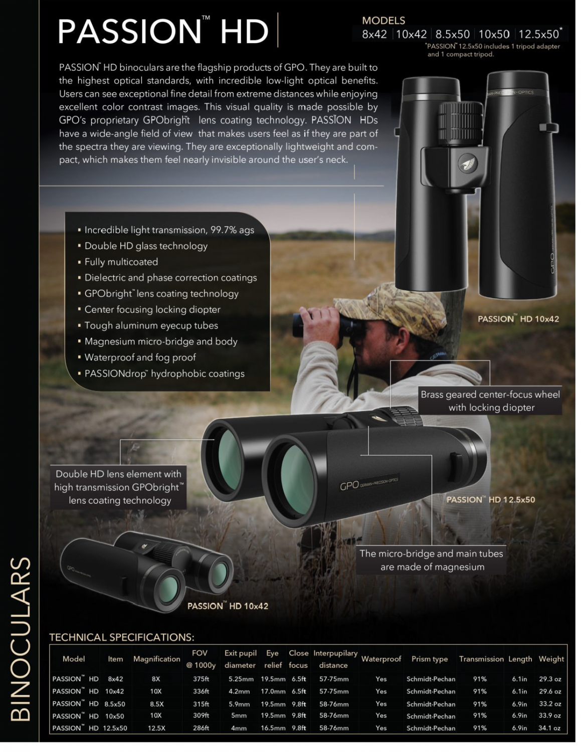 GPO's flagship product is the Passion HD binocular.