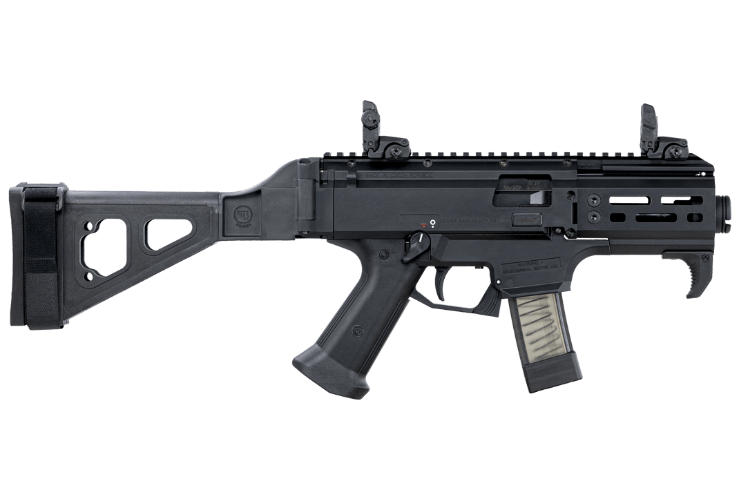 Among CZ's popular offerings is the Scorpion, shown here in the EVO 3 S2 Pistol Micro variant with folding brace.