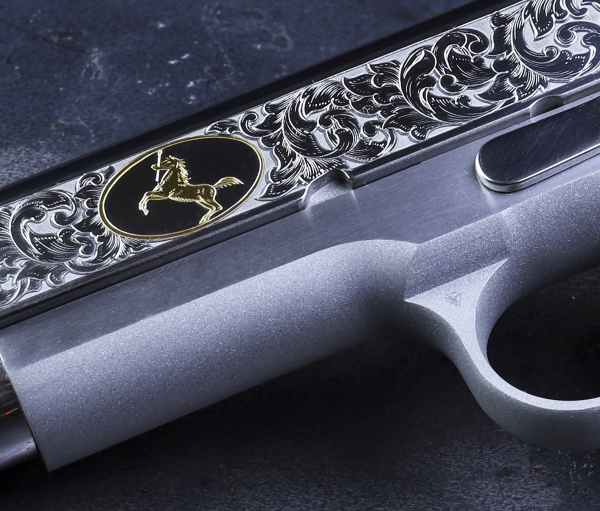 A close-up look at the Baron Engraving scrollwork.