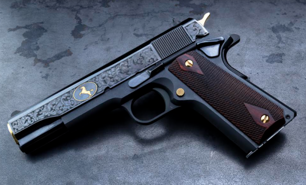 The blued version serves to contrast the gun's gold-plated components.