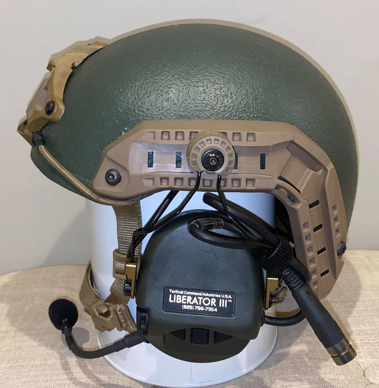Without an optional custom cover, the CVC shell base indicates the helmet's military surplus origins.
