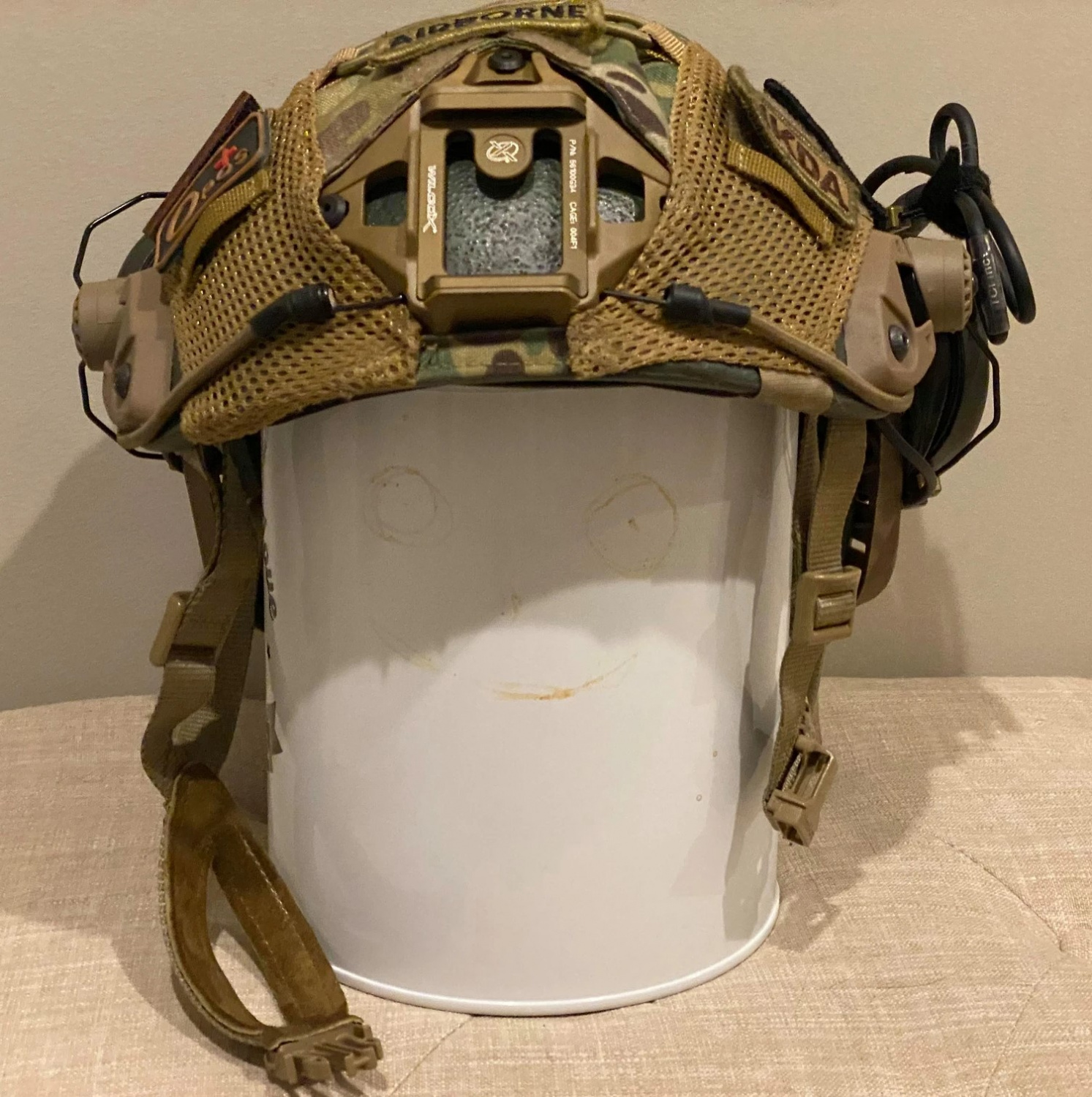 The helmet's front view showcases the included Wilcox NVG shroud.