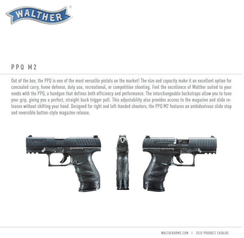 Walther's 2020 product catalog shows their pride in the PPQ.