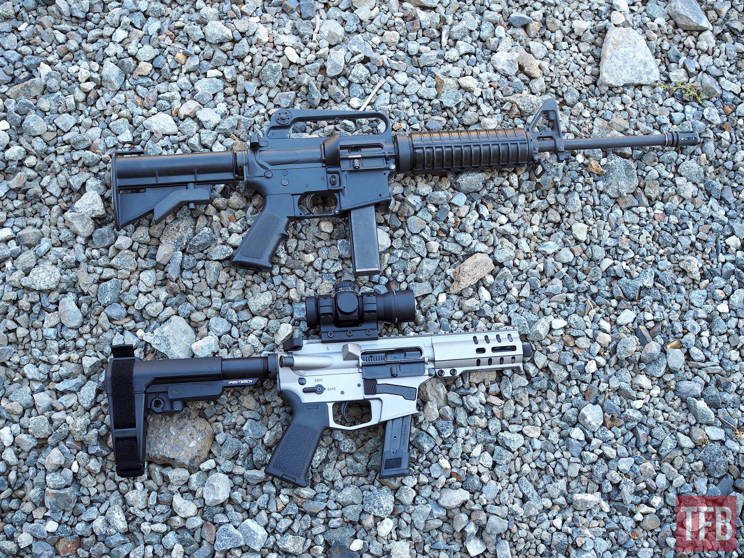PCCs then and now Top: Colt R6450 Bottom: CMMG Mk17