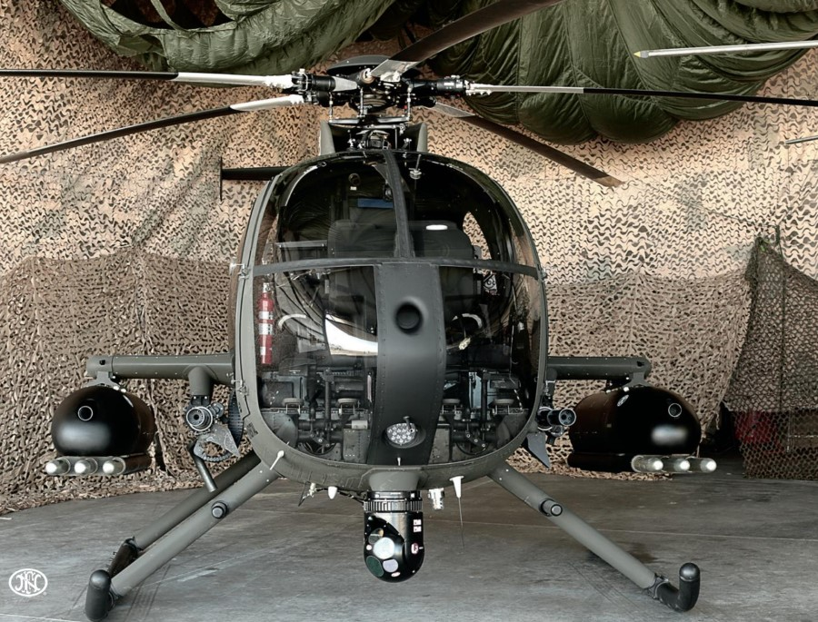 FN also makes modern versions of the M2 for aircraft, like those seen on either side of this helo's cockpit.