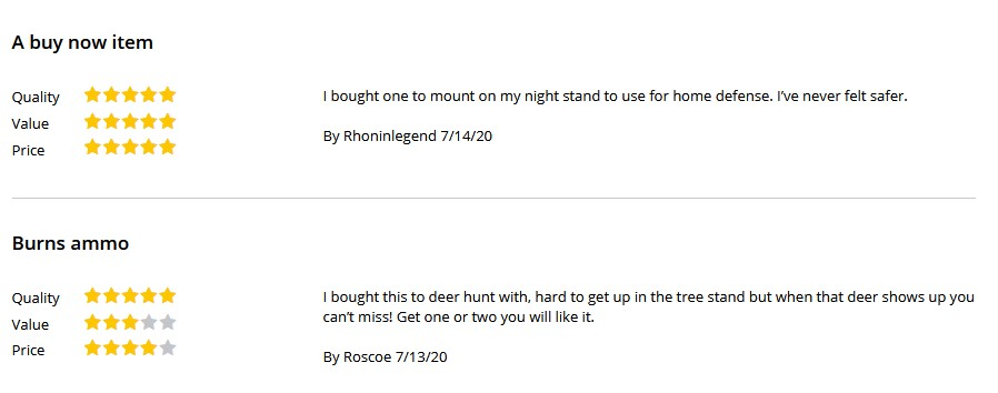 Shout out to these intrepid reviewers, whose gems are found at the bottom of the product page.