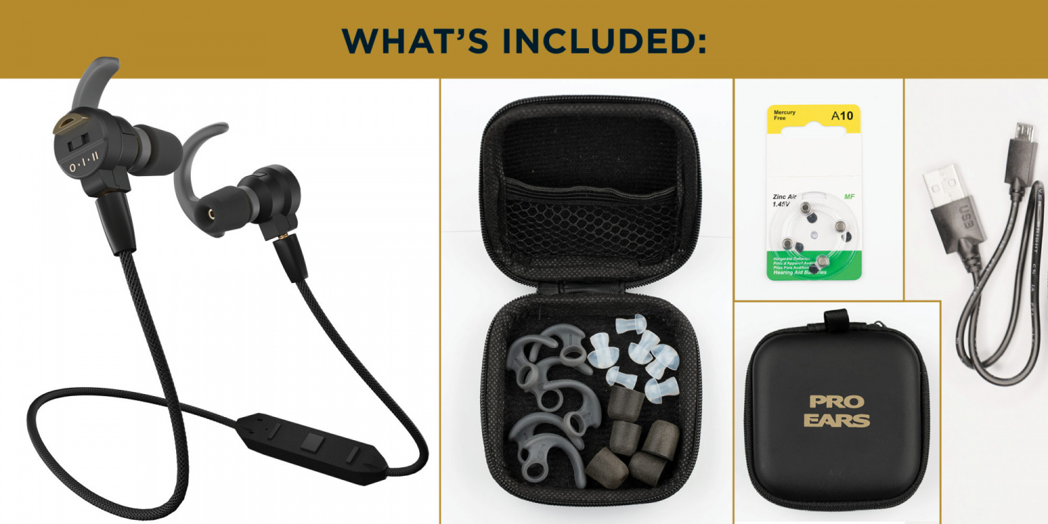 The kit comes with spare batteries and a variety of fitments for differently-sized ears.