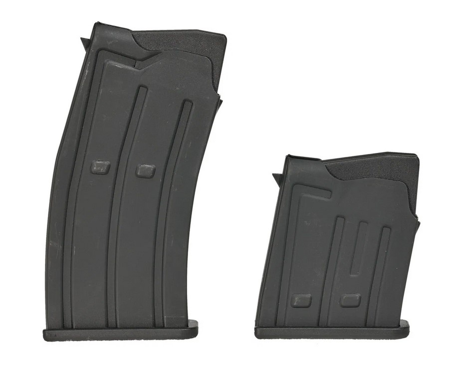 A side-by-side look comparing the size disparity between the 5-round and 2-round magazine options.