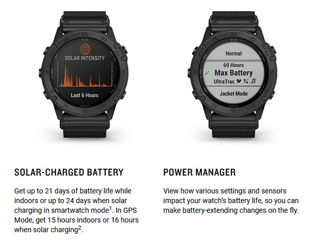 Built-in software keeps you informed about the Tactix Delta's solar and battery status.