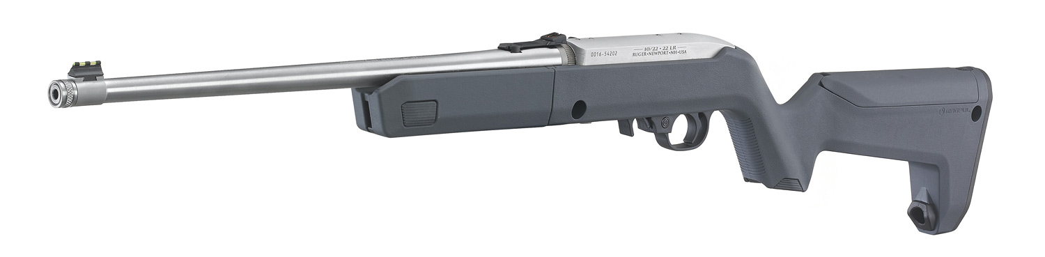 The other side of the rifle - note the suppressor-ready threaded barrel.