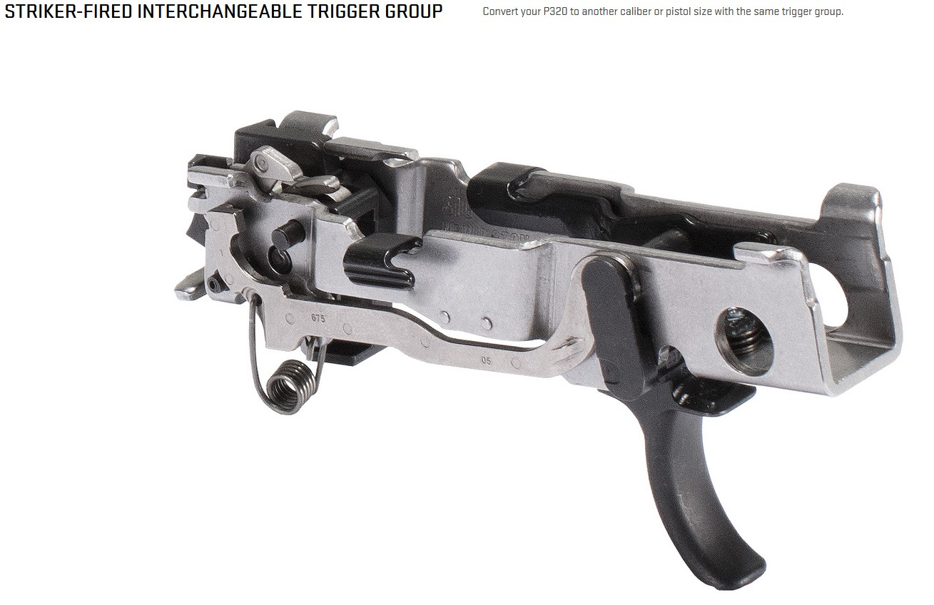 A close look at Sig's striker-fired interchangeable trigger group.