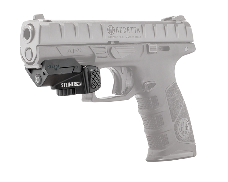 Steiner provides this example of their laser's profile when mounted on a handgun.