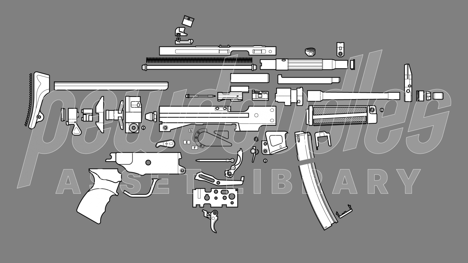 Pewdoodles disassembled MP5 drawing