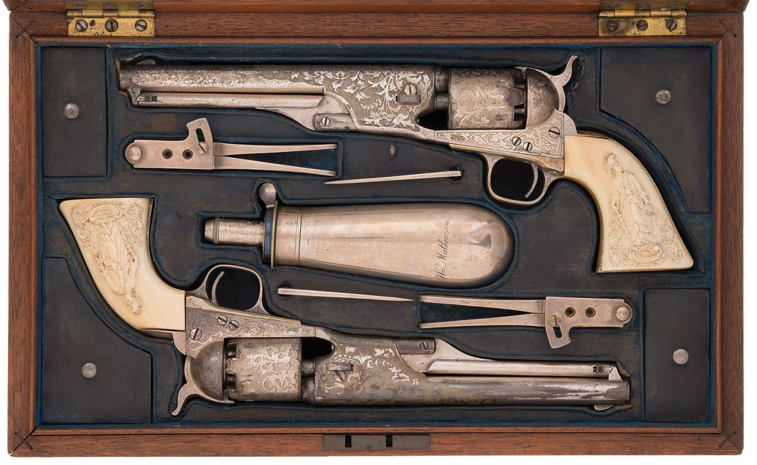 Cased Pair of Tiffany Colt Model 1861 Navy Percussion Revolvers Presented to William Buffalo Bill Mathewson