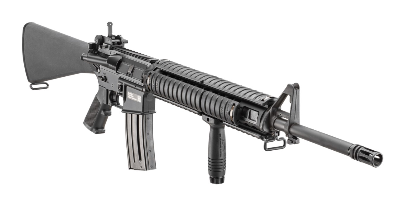 """Need a 20"""" FN barrel with an A2 sight like the one on this FN MD heavy barrel rifle? Primary Arms has those, too."""