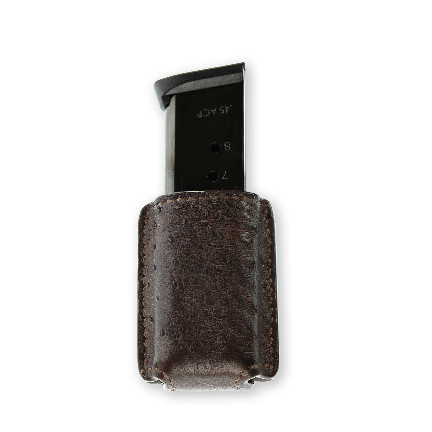 If you appreciate exotic animal skin goods, you can access some of those materials in your mag carrier - like this ostrich-skin pouch.