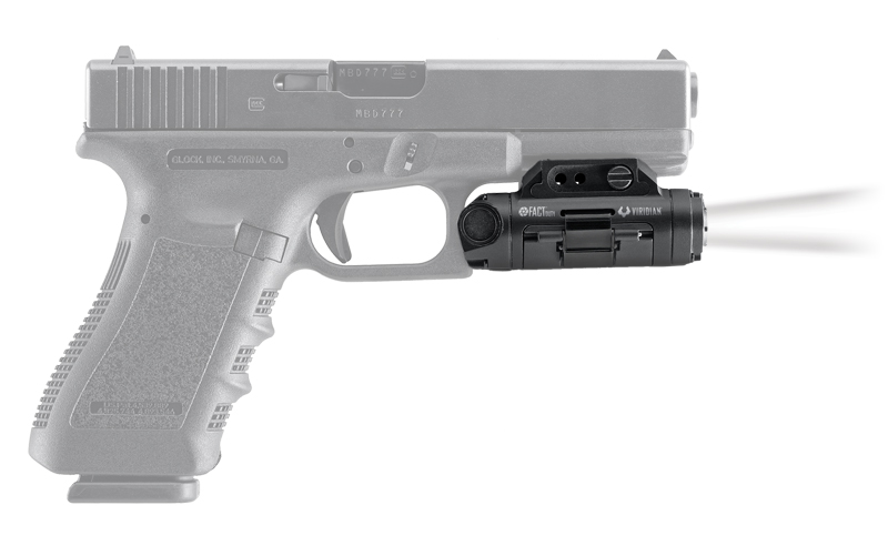 The FACT camera is designed to fit compactly and conveniently on most modern handguns.