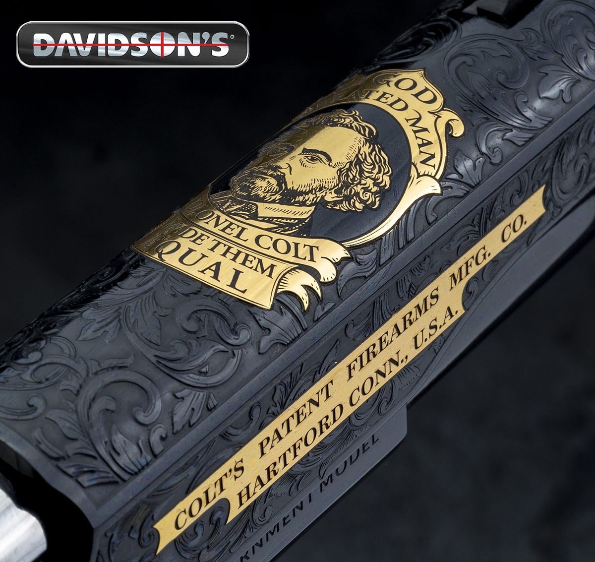 This 1911's intricate metalwork features Samuel Colt's face.