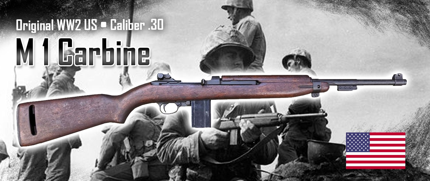The M1 Carbine was carried by many American Soldiers and Marines during WWII.