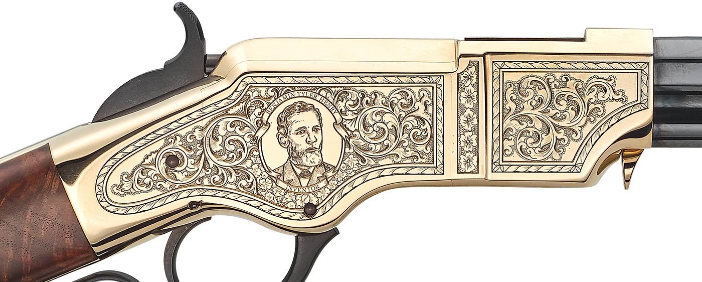 The inventor's stoic visage adorns the right side of the intricately-engraved receiver.