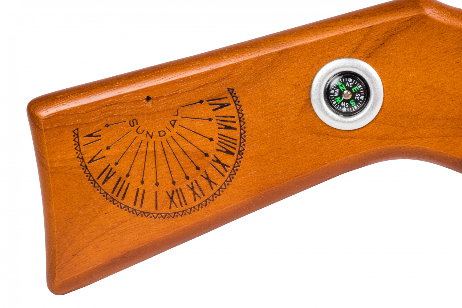 Fun fact: the compass and sundial that make this iconic model stand out had to be affixed to the left side of the original Red Ryder stock for the film, since Peter Billingsly is left-handed.