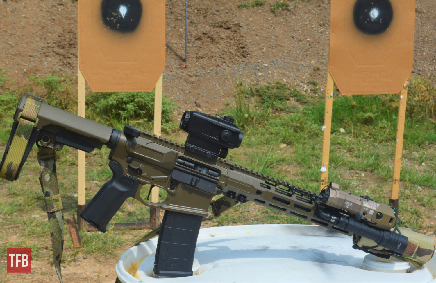 My personal Lone Star Armory AR wearing the Blade for range testing...