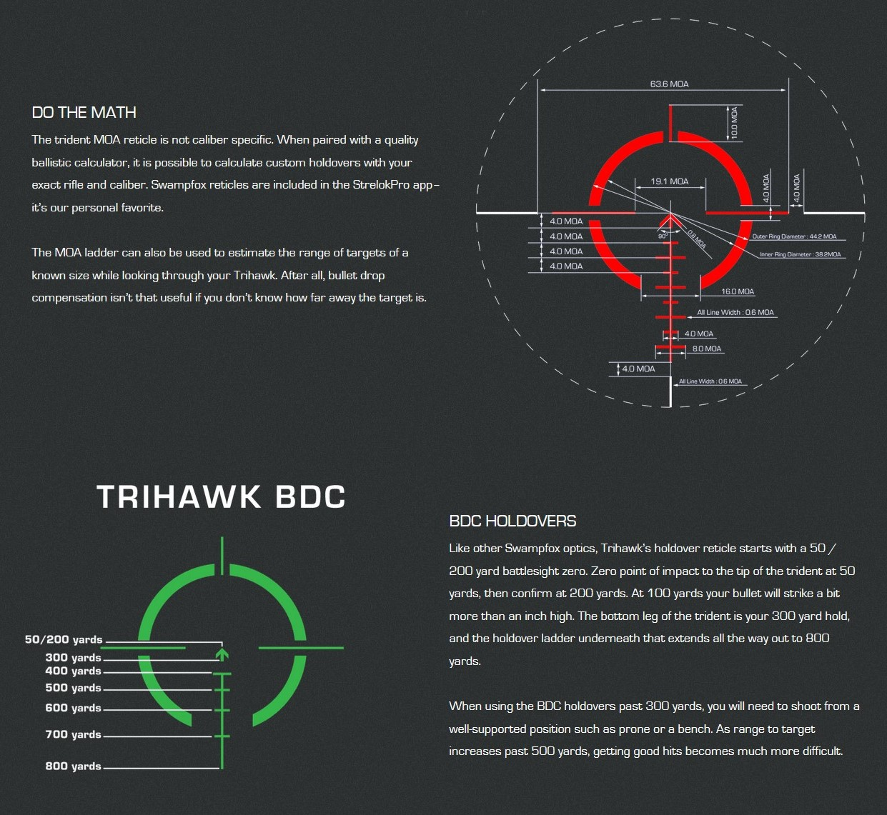 The Trihawk comes in two reticle versions in either red or green flavors: MOA (top, shown here in red) and BDC (bottom, shown in green).